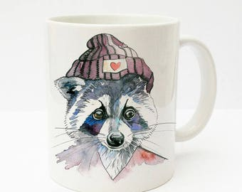 Gift mug Cup with raccoon and hat TS184