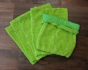 Lime Green Lined Crocheted Tutu Top Large - 5 pack