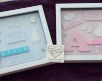 CHRISTENING PERSONALISED Box Frame Keepsake Gift Little Boy or Little Girl