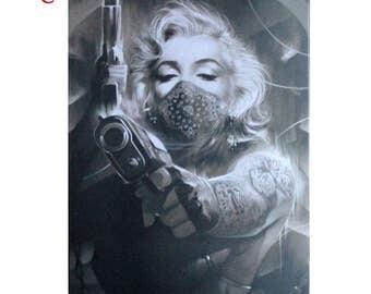Monroe tattoo etsy for Marilyn monroe tattoo canvas