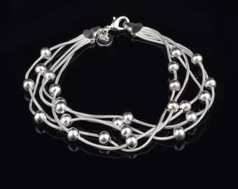 925 Sterling Silver Snake Chain Beaded Bracelet