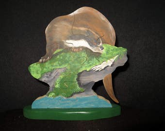 Puzzle wooden handpainted, Otter on rock