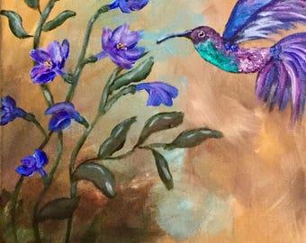 Hummingbird Painting, Wall Art, Fine Art, Home Decor, Gift