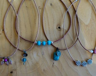 Single Tan Leather Chokers with Various beads