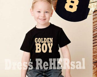 Golden Boy birthday shirt with name and digit on black tee
