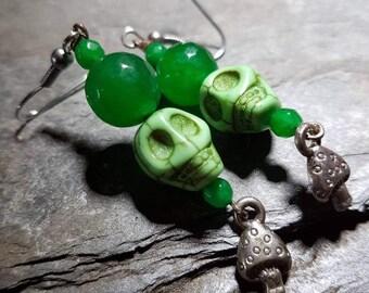 Absinthe green emerald skull and toadstool earrings/Taurus/birthstone/May/birthday/gift