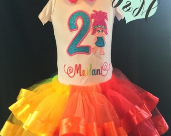 Rainbow Trolls Glitter Birthday Outfit Number 1 2 3 4 5 6 7 8 9