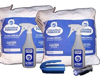 UrineRelease PreSpray & UrineOut Powder - Pet Urine Odor Eliminator w/FREE Blacklight