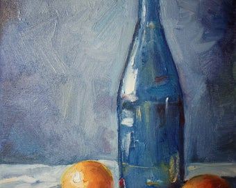 Bottle and oranges oil painting