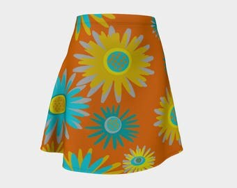 Skirt, Gift,  Orange, For Her, Wife Gift, Womens Skirt, Gift, Retro, Flowers, A-Line Skirt, Womens Gift, Unique, Gift for Women, Turquoise