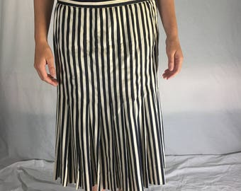 Vintage Pleated, Drop-waisted, 50s Striped Silk Skirt