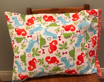 Toddler Pillow with handmade Velcro Closure Dinosaur Pillowcase