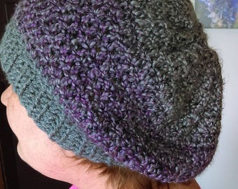 Gray and purple slouchy hat