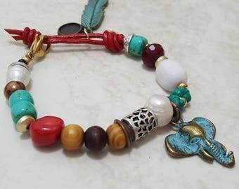 Bracelet elephant and Pearl/Elephant and pearl bracelet