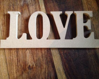 Unfinished Plain Wood Love  Sign for Decoupage Painting Crafts Embellishment Hanging/Standing