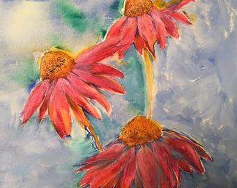 Acrylic Painting, Coneflowers