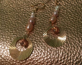 Champagne and blush dangle earrings