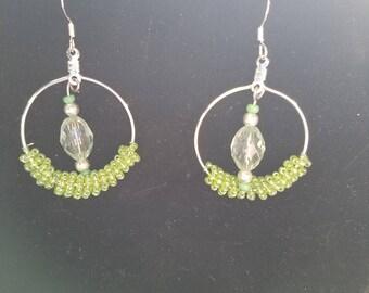 Green Beaded Hoop Earrings