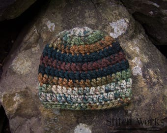 Crocheted Baby Beanie - Baby Boy - Multi-colored - Newborn
