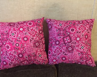 Pink bandanna pattern throw pillows
