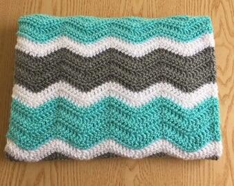 Aqua Chevron Baby Blanket/ Aqua, Gray and White Crochet Baby Blanket/ Ripple Baby Blanket/ Crochet Baby Blanket/ Gender Neutral Baby Blanket