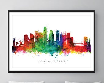 Los Angeles Skyline, Los Angeles California Cityscape Art Print Watercolor – [SWLAX01]