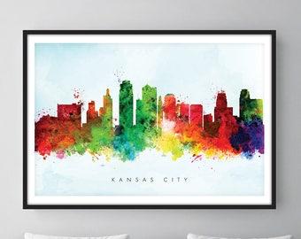 Kansas City Skyline, Kansas City Missouri Cityscape Art Print, Wall Art, Watercolor, Watercolour Art Decor