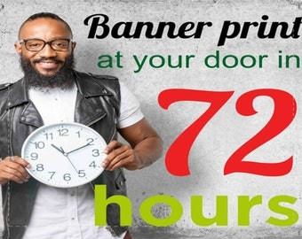 2' Custom Vinyl banner in 72h at your door,  13oz, free hem and grommets. FREE SHIPPING