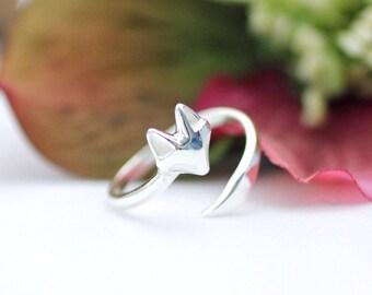 Fox Ring in Sterling Silver, Fox Ring, Fox Head Ring, Animal Ring