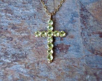 Solid Gold Cross - Tiffany Cross - 9ct Gold Pendant - 9k Gold Pendant - Peridot Cross - Gold Necklace