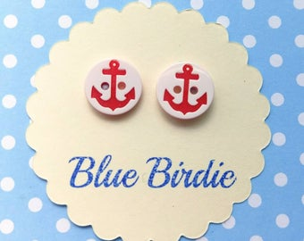 SALE!Red anchor earrings anchor jewellery anchor jewelry red anchor stud earrings nautical jewellery red anchor earrings seaside earrings