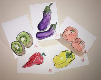 Pack of 5 Etegami Watercolor Postcards - Vegetables