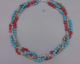 """18.5"""" Red Coral and Labradorite, Turquoise Magnesite, Hematite and Crystal Necklace"""