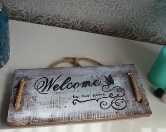 Reclaimed wood welcome sign, rustic wall art, home decor
