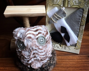 Owl Stuffed Animal with nest, perch and light grey accessories - Button Eyes - Dress up Toy - Owl Gifts