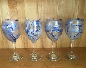 Set of 4 Hand Marbled Glasses