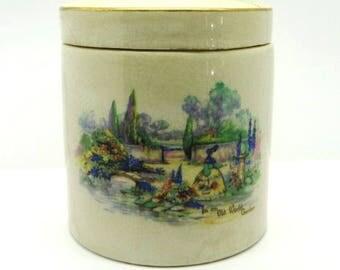 Vintage Sandland Ware Marmalade Jar, Olde World Garden Scene, Frank Cooper Ltd., British Pottery