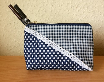 Cosmetic bag blue / white Plaid / dots pencil case with zipper from metal make-up bag