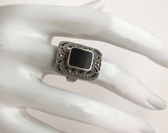 Art Deco ring, vintage, silver, Onyx, marcasite