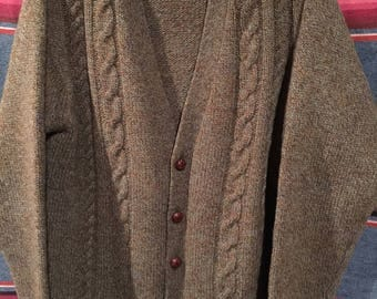 Vintage McRitchie of  Edinburgh Shetland wool cardigan sweater size large