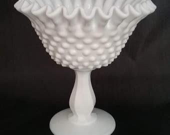 """Fenton Milk Glass Hobnail Pedestal Ruffled Compote Candy Dish (6"""" x 6"""")"""