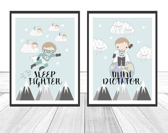 Set of 2. Baby Nursery Print - Sleep Fighter & Mini Dictator. Baby Nursery Decor. Baby Nursery Wall Art. Baby Boy Gift.