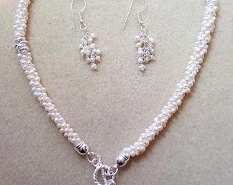 Pearl Necklace & Earrings
