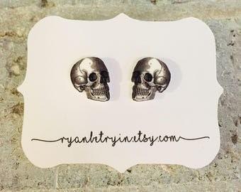 Skull Stud Earrings - Skeleton Studs - Skull Earrings - Skeleton Earrings - Halloween Earrings - Halloween Studs - Quirky Earrings - B & W