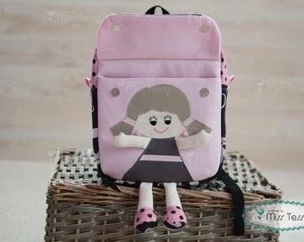 Pink and black Tessy Backpack| Personalized toddler backpack| Doll backpack| kids backpack| children's backpack, rucksack |