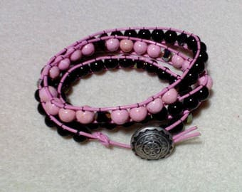 Pink Leather Three Wrap Bracelet