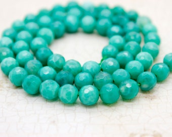 Green Fire Agate Stone Faceted Round Beads Natural Gemstone (4mm 6mm 8mm 10mm 12mm)