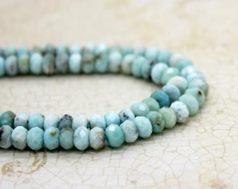 Larimar Faceted Rondelle Beads Natural Gemstone (2mm x 3mm 2mm x 4mm 4mm x 6mm)