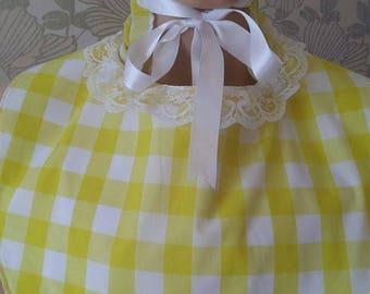 adult baby bonnet set and matching bib
