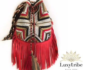handcrafted handbags- crossbody bags for women  Wayuu bag Embellished with Swarovski and leather fringes.